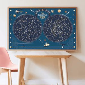 Poster géant autocollants Carte du ciel POPPIK