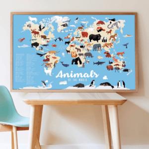 Poster géant autocollants Animaux du monde POPPIK