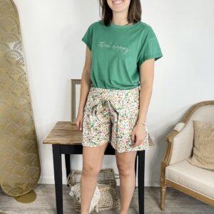 T-shirt Think happy Vert